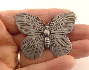 1 Large Antique Silver Butterfly Pendant