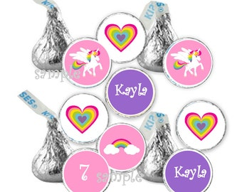 Personalized Unicorn and Rainbow Birthday Custom favor hershey kiss candy stickers (108)