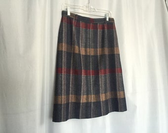 Striped Skirt Vintage Gray Blue Red Beige Woven Women's Medium or Large