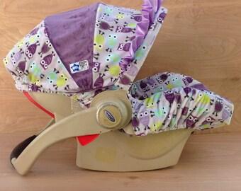 Infant Car Seat Cover- Purple Owls