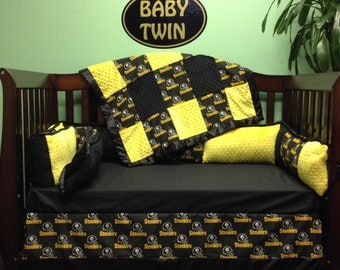 "4 pc Standard Crib Bedding Set ""NFL Steelers"""
