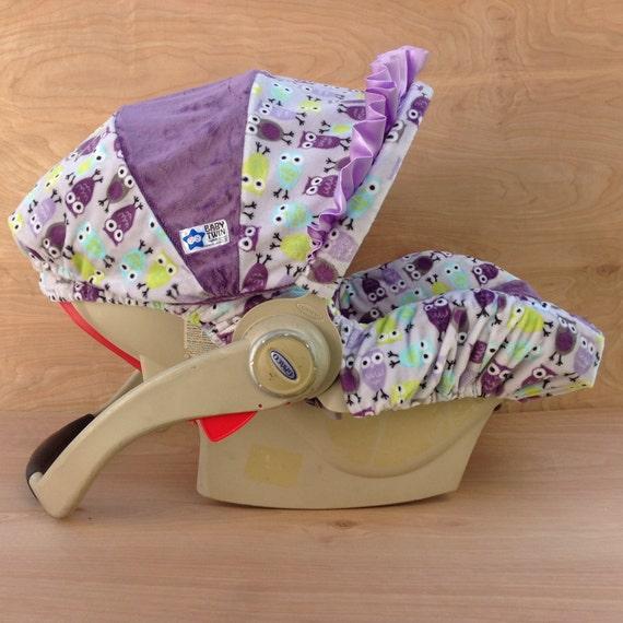 infant car seat cover purple owls. Black Bedroom Furniture Sets. Home Design Ideas