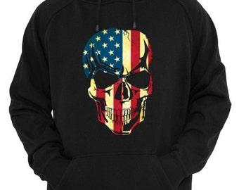 HOODIES - Distressed American Flag Skull