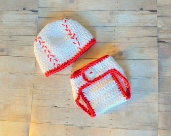 Newborn Baseball Hat and Diaper Cover Set, 0 to 3 months, Made to Order, Crochet Baby Hat, Newborn Photo Prop, Baseball Outfit