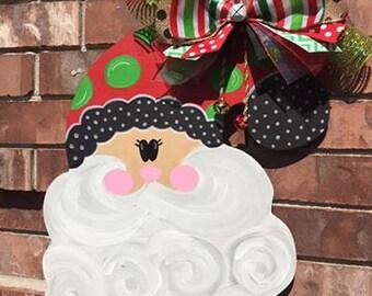 Santa Door Hanger, Christmas Door Hanger, Santa Wreath, Christmas Wreath, Santa Decor, Christmas Decor, Santa Claus, Santa Decoration, Santa