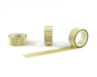 GOLD WASHI TAPE -  Gold Glitz Glow Mesh 70's Pattern Washi Tape (5 Metre Roll)