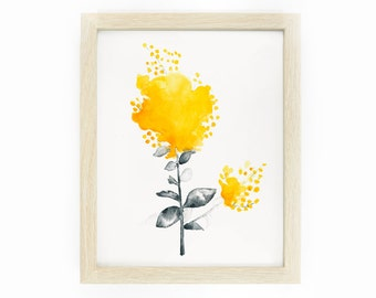 Australian Wattle Flower: Original Watercolour Painting