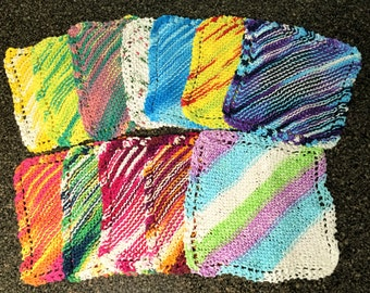 Dish Cloths, set of 2, Variegated yarn , 100% Cotton Knit Dish Cloths, Set of two ,multi colored hand knit dish cloths, choose colors