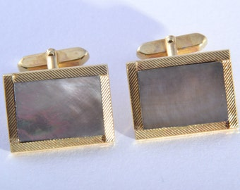 Gilt 1950's Cufflinks With Mother-Of-Pearl