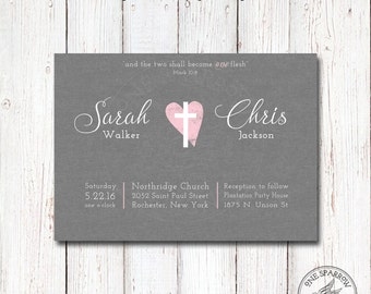 Two Become One Wedding Invite