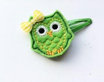 Owl Barrette - Owl Hair Barrette - Toddler Hair Barrettes - Green Snap Clip Barrette for Girls - Owl Hair Clippie - Bird Hair Clip for Girl