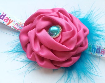 1st Birthday Girl Headband - First Birthday Headband - Cake Smash Headband - Pink Rose Headband - Feather Headband - Over the Top Hair Band