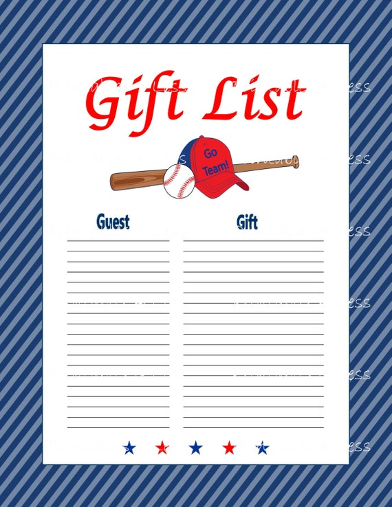 gift list diy baseball gift list diy baby shower digital gift list
