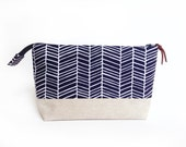 Makeup Bag with Waterproof Lining, Navy Blue Herringbone by Made on Main VT