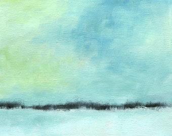 Seasonal - Landscape Painting - Original Oil - 6x6 - Abstract Painting - Miniature Minimal Art - Abstract Landscape - Seascape