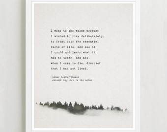 Henry David Thoreau poem Walden: or, Life in the Woods, gifts for him, quote print, men's gifts