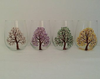 Four Seasons Trees, Hand Painted Wine Glasses, Stemless