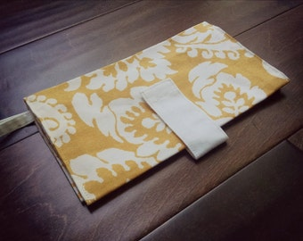 READY TO SHIP - Yellow & White Damask Diaper Clutch - Baby