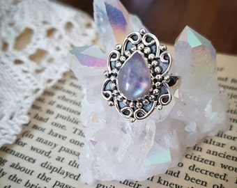 Pink moonstone ring size 8 sterling silver