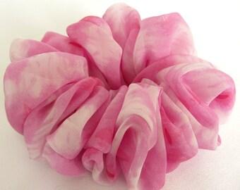 Pink Tie Dye Scrunchie - #76 - Hair Ties and Elastic - Handmade in USA