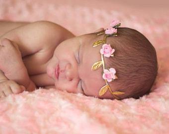 Newborn Flower Crown, Newborn Crown Headband, Newborn Photos, Newborn Greek Crown, Newborn Floral Crown, Pink Headband, Newborn Headband