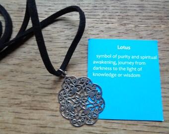 Bali Lotus flower pendant in silver