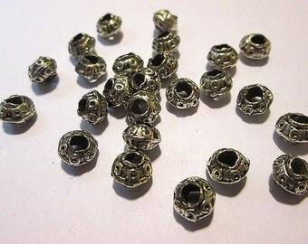 18 Vintage Silver metal Spacer Beads