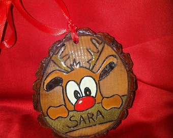 Woodburned tree slice Christmas ornament with Rudolph customized with name hand painted
