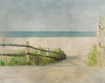 New Jersey Beach Print, Cape May Art, Beach Wall Art, Vintage Inspired, Beach Photo, Coastal Art, Blue, Sea Green, Tan, Beach House Decor