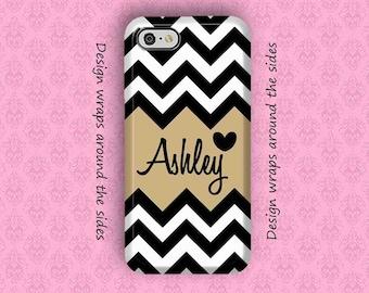 iPhone 7 Case, iPhone 7 Plus Case, iPhone 6S Case, iPhone 6 Plus Case, Monogram iPhone Case, 6S Plus Case, Black Chevron iPhone Case