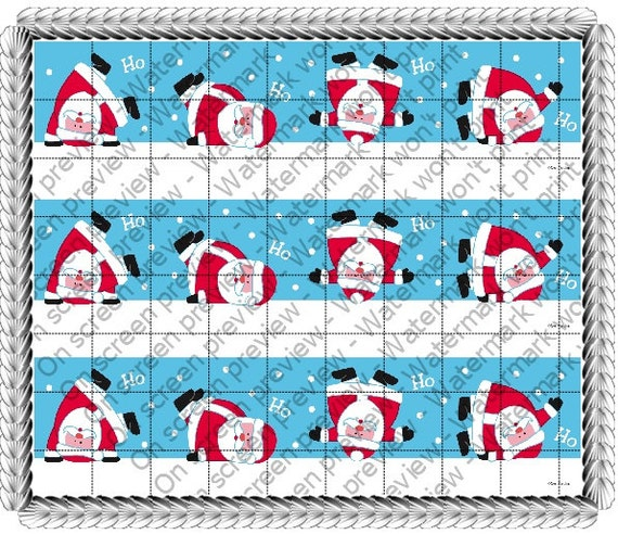 Tumbling Santa Christmas - Designer Strips - Edible Cake Side Toppers- Decorate The Sides of Your Cake! - D521