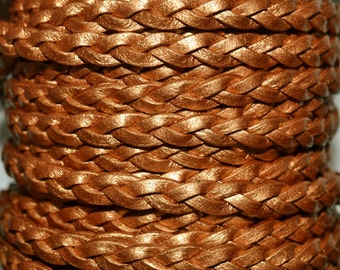 Bronze - 3 x 2mm Flat Braided Leather per yard