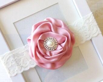 Rose and cream lace headband-vintage headband-lace headband-infant headband-children's headbands