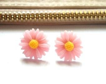 Pink Sunflower Earrings