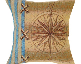 Compass Rose Tapestry Cushion Cover. Tapestry Pillow Cover.