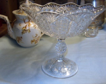 Vintage Pressed Glass Compote, small, WAS 25.00 - 50% = 12.50