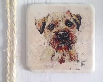 Coaster, Border Terrier, Dog, Animal Coaster, Ceramic, Tile coaster, Kitchenware, hand made, Decor, Interior Kitchen