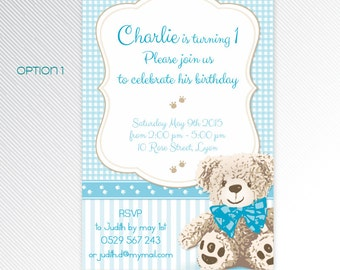 Blue Teddy Bear birthday party printable invitation, photo invitation, digital invitation