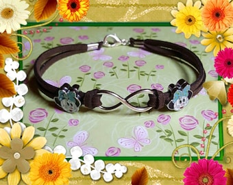 On Sale Minnie with blue bow and Infinity Bracelet