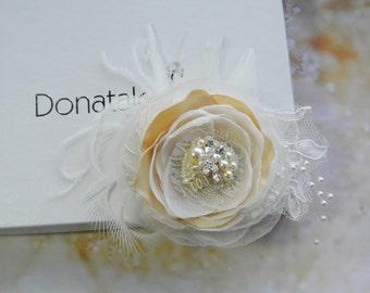 Bridal Headpiece, Wedding Hair flower, Bridal hair flower ,Bridal hair clip, Bridal hairpiece, Champagne Blush Wedding hairpiece - GIORGIA