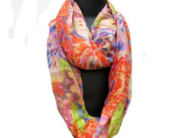 Infinity scarf/ loop scarf/ circle scarf/ tube scarf / multicolored  scarf / cotton scarf/  gift ideas.