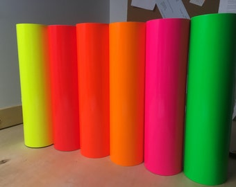 """12"""" x 12"""" Fluorescent Vinyl / oracal 6510 Fluorescent permanent sign vinyl - Neon - permanent vinyl for all your projects / for all cutters"""