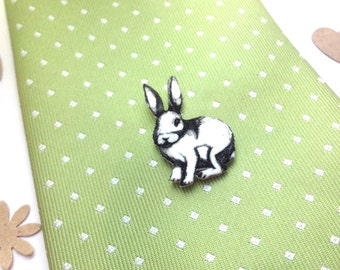 Rabbit Tie Pin, Shrink Plastic Animal Lapel Pin, Cute Bunny Tie Tack, Woodland Rabbit , Wedding Gift for Husband Boyfriend Partner.