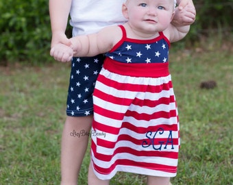 Fourth of July embroidered monogrammed tank top dress red and white stars and stripes hair bow headband