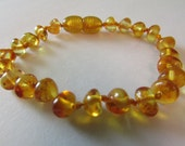 Genuine  Baltic Amber Baby   Bracelet  Anklet    Light Cognac  Colour  Sizes 11  18 CM