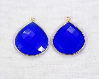 Hurry! 45% Off 2 Pcs Lot Blue Chalcedony Heart Shape 20 mm 24k Gold Plated Single Bail Gemstone Pendant.