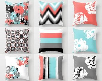 Throw Pillows, Pillow Covers, Coral Aqua Grey Black White NEW DESIGNS!
