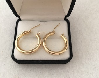 14K Fine Gold Hoop Earring Contemporary Design Light Weight For Comfort signed 14K = 585