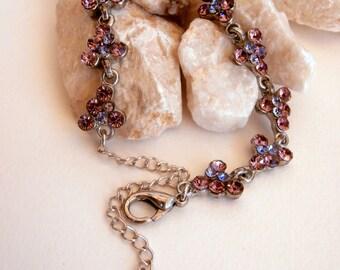 Silvertone & Purple Bracelet - Upcycled