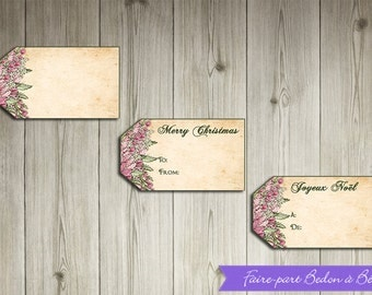 Printable  -  Christmas gift tags -  Pink